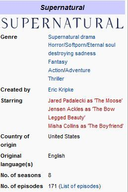 whaddadork:  the supernatural wikipedia page right now