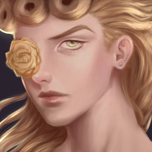 sleepypotion: painting from grayscale is HARD but giorno is worth it #h #this needs more notes #jjba#giorno giovanna