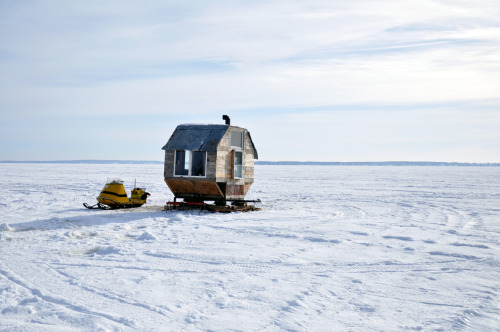 cabinporn:  Ice fishing shack on Lake of Two Mountains, Québec. Submitted by Marieke Baars.  Need to find that landlord, or its listing on AirBnB