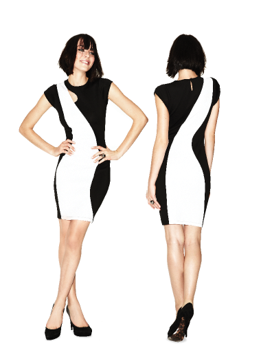 Black and white and oh so chic! We're so glad Caprice bought this sleek and sassy dress from Cassandra.  Get yours!