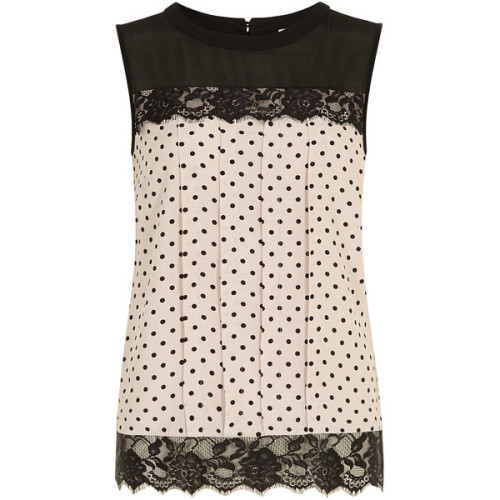 Blush spot lace contrast shell top   ❤ liked on Polyvore (see more dorothy perkins)