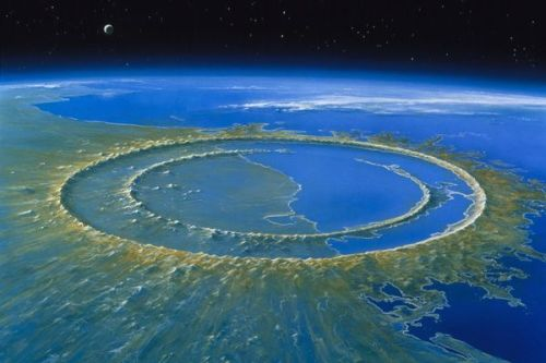 An illustration of the Chicxulub impact crater in the Yucatán Peninsula. Located on the Yucatán Peninsula in Mexico, many scientists believe that the meteorite that left this crater caused or contributed to the extinction of the dinosaurs. Estimates of its actual diameter range from 106 to a whooping 186 miles (170 to 300 kilometers), which if proved right could mean it's the biggest.