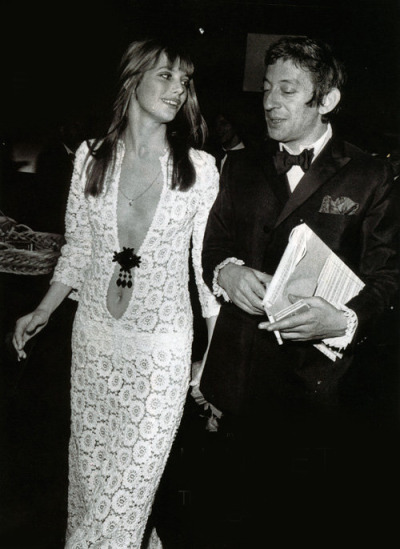 theyroaredvintage:  THAT DRESS. Serge Gainsbourg and Jane Birkin, 1970s.   And this one too.