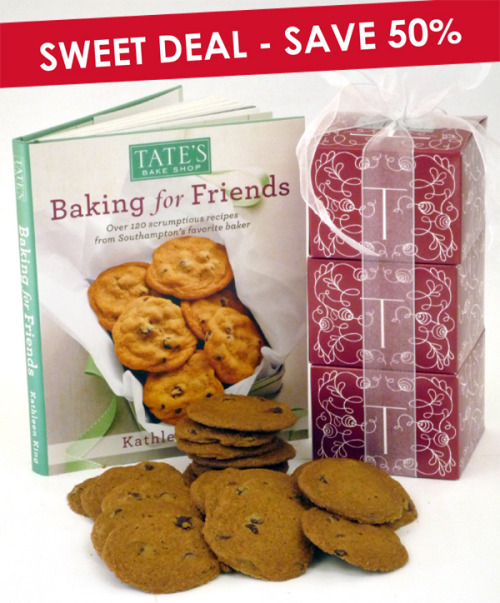 Delish Detector!- Tate's Bake Shop Valentine Giveaway As the saying goes, well, at least in my book, the way to someone's heart is through their stomach, and for this Valentine's Day, I've got the perfect gift for you. For your cookie enthusiast sweetheart, Tate's has created the Cookie Cube Tower and Baking for Friends cookbook gift set.  If your loved one aspires to bake like Kathleen King, owner and founder of Tate's Bake Shop, and likes to indulge in some of the best crispy chocolate chip cookies, then your search the best Valentines gift is over.  You can purchase the Valentine's combo on Tate's Bake Shop website and save an additional 20% off any web store purchase using the code BLOG213 at checkout.  Feeling lucky?!  Enter for a chance to win!  1 lucky winner will receive: Tate's Bake Shop Cookie Cube Tower (3 boxes of delicious Tate's cookies) and the Baking For Friends cookbook! Rules and Entry: 1. Like the Tate's Bake Shop Valentine's Giveaway Post and comment with your ideal Valentine's date. 2. Follow @delishyourdish on Twitter and Instagram 3. Email your contact information to delishyourdish@gmail.com 4. Entries must be received no later than 12am PST Sunday February 10, 2013.  Winner will be drawn at random and emailed directly Monday Feb. 11, 2013. (Note: Winner must reside in the United States)
