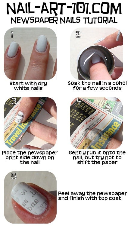 digitaldiaryspeaks:  Newspaper Nail art  Easy, Simple… 123