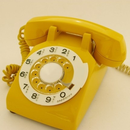 Mustard Yellow Rotary Telephone