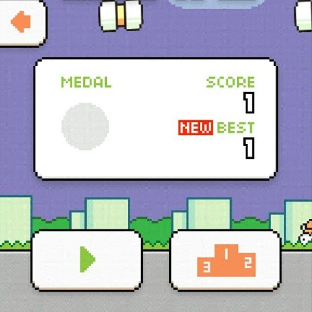 I got 1 on Swing Copters (New game by the flappy bird creator). I officially give up. #swingcopters