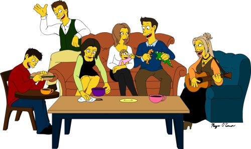 arttorvic:  Friends in Simpsons style. I love it! Do you?  credits on image.