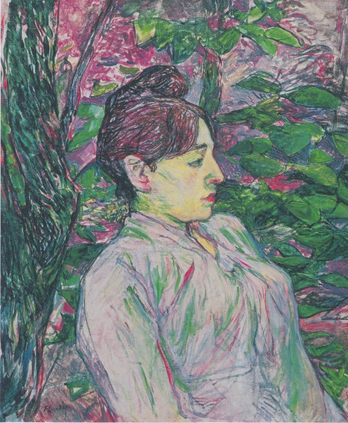 The Greens (Woman Seated in a Garden) by Henri de Toulouse-Lautrec (1864-1901) oil on canvas, 1891