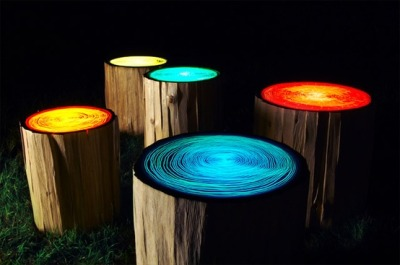 Judson Beaumont of Straight Line Designs designed these Tree Rings lights. Illuminated from within, the acrylic resin tops light the surrounding area with lively colour.