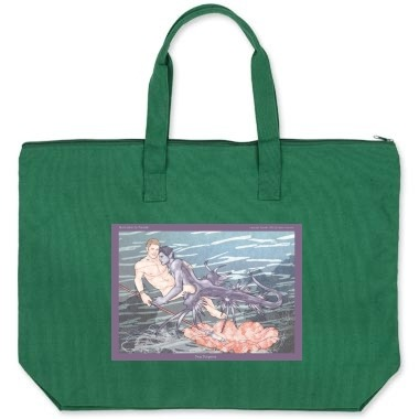 Sea Serpent Zipper Tote Bag - Cotton canvas large tote bag with zippered closure and inside zippered hanging pocket. Image on both sides. Available in Forest Green (shown) Natural, Royal Blue, Navy Blue, Black. here: