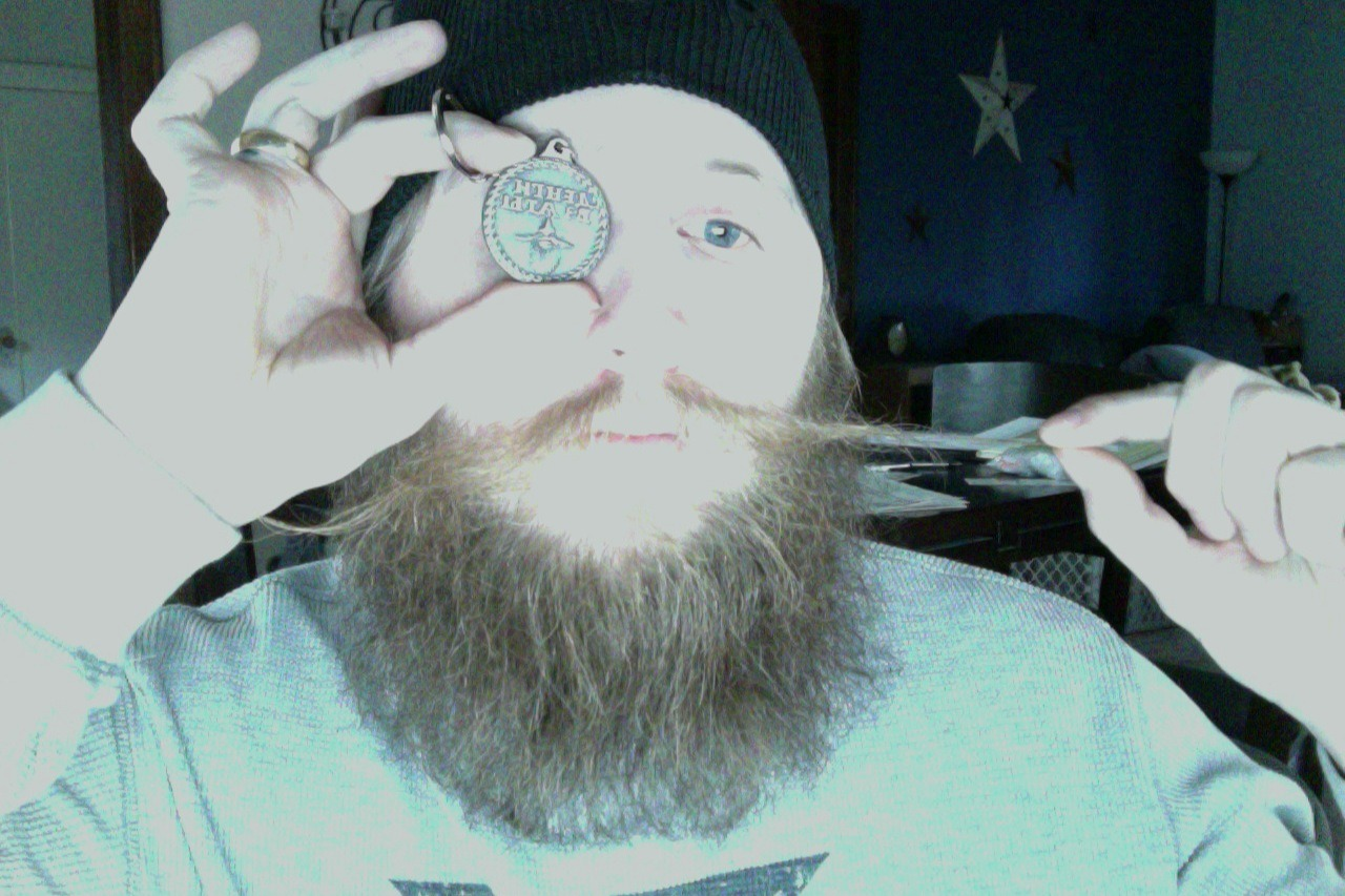 Steven Kramer with his serious stache and Beard Token. You can get your own at beardtoken.com