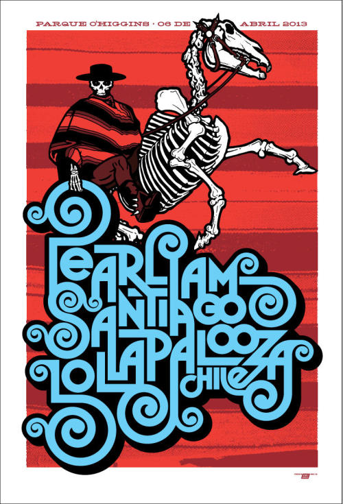 Pearl Jam at Lollapalooza in Santiago, Chile, April 6, 2013. Poster by Ames Bros.
