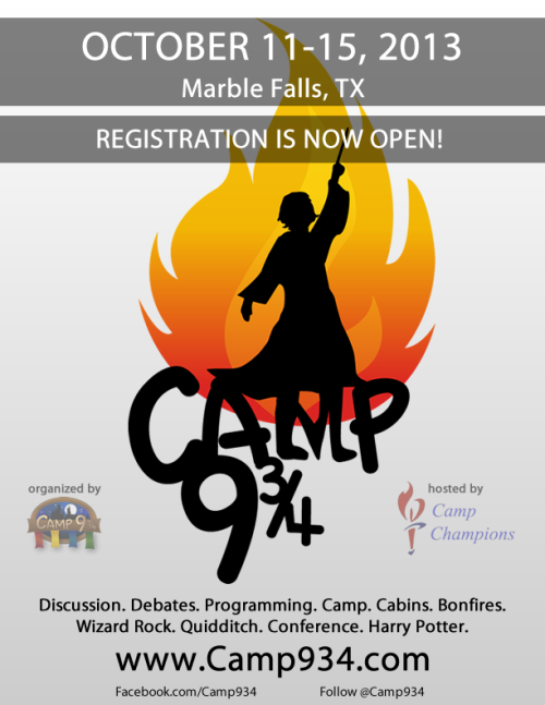 Registration for Camp 9 ¾ is now open!  Check it out at http://www.camp934.com!