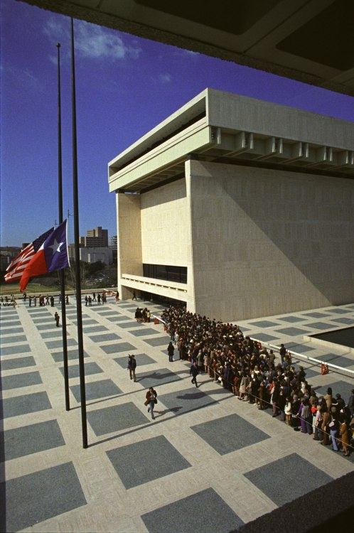 Lyndon B. Johnson died forty years ago today.  A photo of people lined up to pay their respects, as LBJ lay in state at his Presidential Library in Austin, Texas.  January 23, 1973. LBJ Library Photo D4869-23A, public domain.