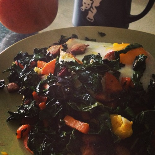 Bout day breakfast, yo! Eggs with kale, chorizo, sweet potato… Press of Blue java. Grapefruit!Not pictured, the hopes and dreams of my opponents.
