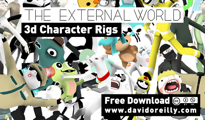 Hey animators - David Oreilly is letting you download his 3d characters. Go nuts.  Students, I'd be much happier seeing demo reels with a few animation tests using some of these badass characters instead of filling them with those crappy models they give you in class. Take note!