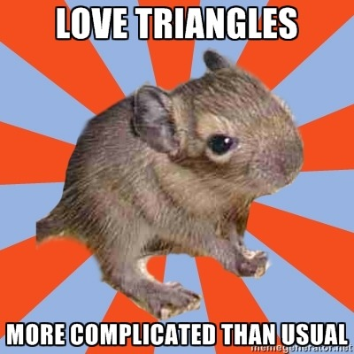 "whynot-dissociativedegu:  Anonymous Submission Text reads: ""Love triangles, more complicated than usual""  Haha, I'm so uncomfortable talking about it but I think issues like this have been the biggest part of my experience. I think it might be best not to get involved with someone else with others in their head unless we all have a very good understanding of what's going on. Somehow I ended up dating more than one person who experienced voices and/or fronting mind-folk.   All of it was complicated. Lee"