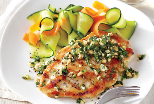 canadianliving:  Recipe of the day: Chicken Cutlets with Cilantro Peanut Sauce This green sauce is like an Asian-style pesto. It is equally nice on grilled fish. It's also a timesaver because you can make this sauce up to two days ahead and refrigerate it, then just bring to room temperature to serve. Photography by Jodi Pudge