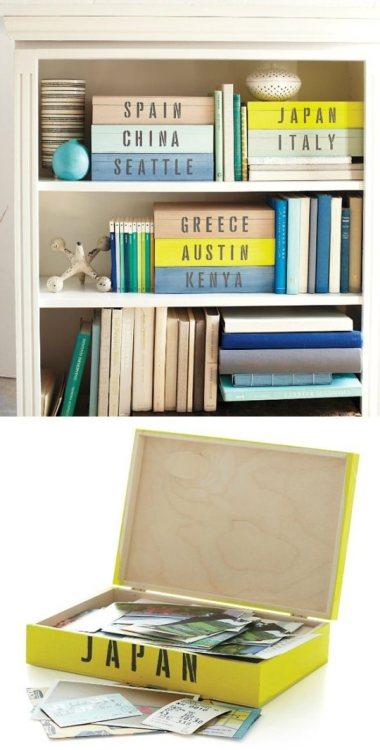 storagegeek:  Not everyone scrapbooks, or even remembers to print off a fraction of the digital photos we take, but we all collect bits of memorabilia and ephemera.  For those of you that love to pull out the shoe boxes, here is a more streamlined version. Kind of like if a photo album and a shoe box had a baby. heck out MarthaStewart.com for more details.