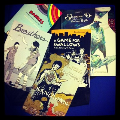 Marbles by Ellen forney, breathers by Justin Madson, a game for swallows by by zeina abirached, the dream hunters by Neil gaiman, and sharaz-de: tales from the Arabian nights by Sergio toppi! Such a successful day.