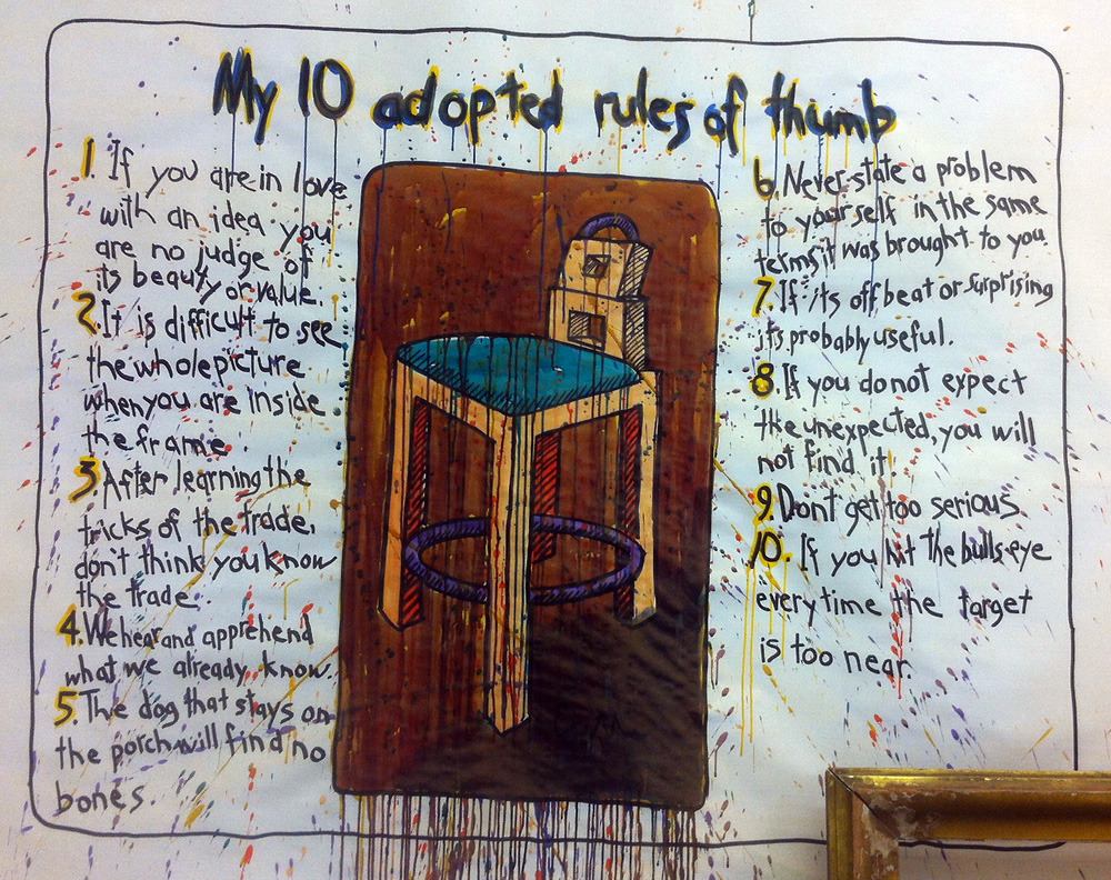 "I love these ten ""rules of thumb"" painted on the wall of furniture-maker Wendell Castle's studio, and hope that more than one apply to Princeton Architectural Press books. At least number seven: ""If it's off-beat or surprising, it's probably useful,"" I think that's a pretty fair description of most of what we do."