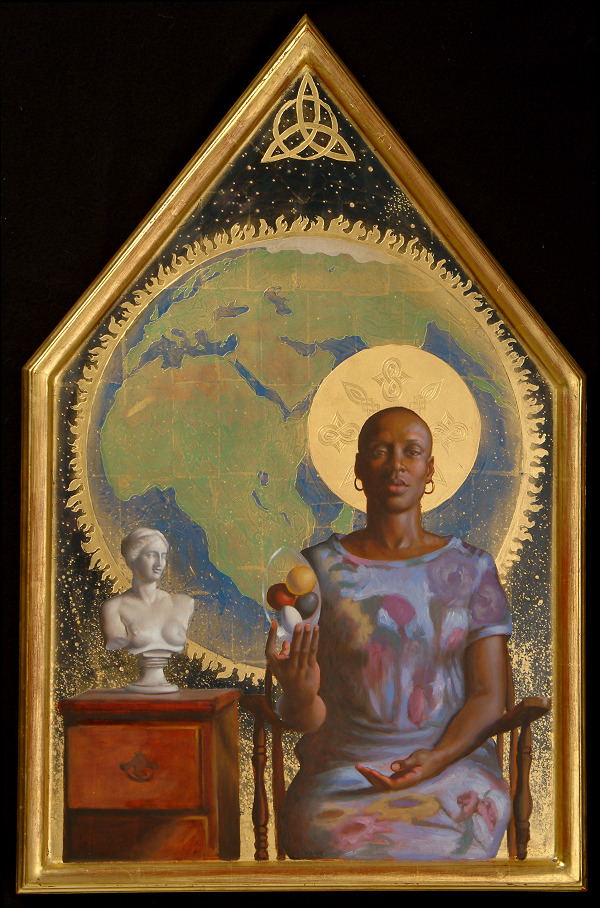 """Black Madonna - Mitochondrial Eve,"" David Hewson, 2004. Kittredge Cherry describes her:  The Madonna appears without the Christ child. Instead she holds a collection of colorful eggs representing the races of the world. The gesture embodies themes of both Christmas and Easter, because Mary Magdalene is traditionally shown holding a red egg as a symbol of resurrection. Black Madonnas were fairly common in Europe during the Middle Ages. Hewson traces the motif back even further. ""Another metaphor of the Black Madonna has its connection with the earth…[P]rior to 2,000 years ago when worship of the feminine was a common practice, black soil was a source of nourishment, of life itself."""