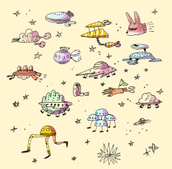 a bunch of spaceships, in color this time. - Tiger Mountain