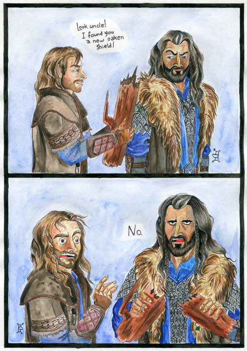 New oaken shield by ~GizTheGunslinger One does not simply find Thorin Oakenshield a new oaken shield.Original size of this drawing is 18,3 x 26,4 cm.Tools: black pen, watercolours.