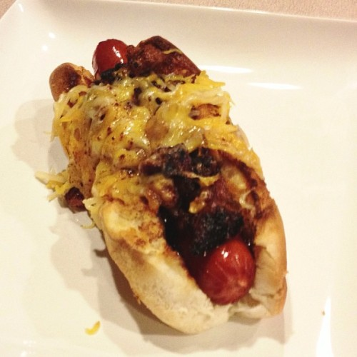 North Carolina BBQ dog with torched cheese @nacho7789 @corrinneleneave  (at alex's bitchin kitchen)