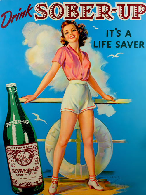 Sober-Up Soda advertisement illustrated by Jules Erbit c. 1940s