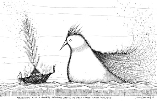 joncarling:  'Reasoning with a gigantic seabird known to peck apart small vessels.' Sketchbook Exhibit #134