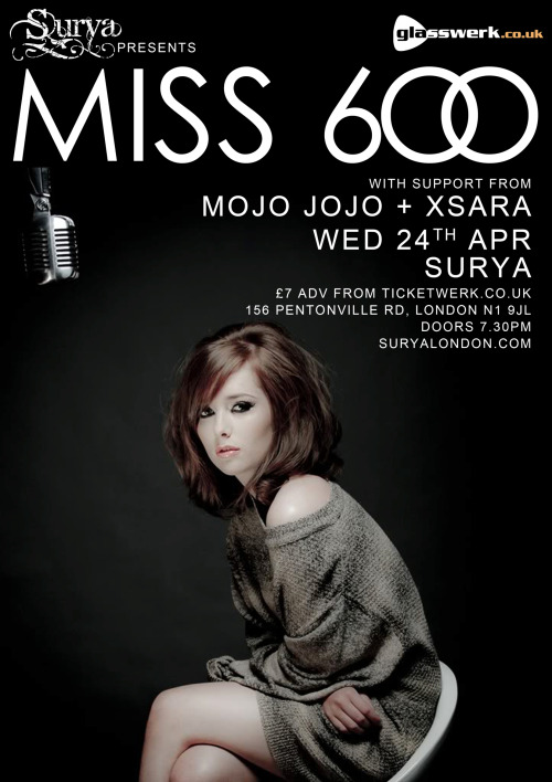 Next Gig: 24th April at Surya we are supporting Miss 600