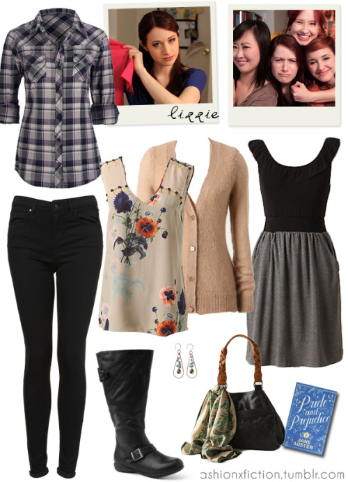 Fashion inspired by Lizzie Bennet from The Lizzie Bennet Diaries. The Lizzie Bennet Diaries is an American drama web series adapted from Jane Austen's Pride and Prejudice where the story is conveyed in the form of blogs. http://www.youtube.com/user/LizzieBennet