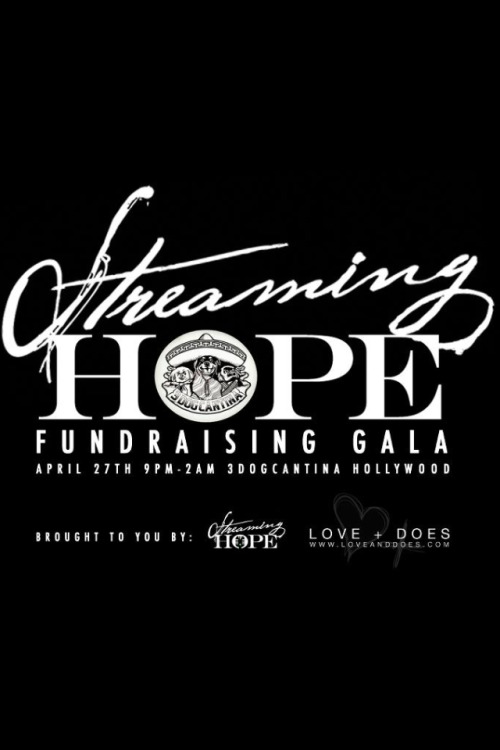 Hey Friends!  The Streaming Hope Gala is happening this week! Buy your tickets at the website below: https://streaminghopelagala2013-eorg.eventbrite.com/