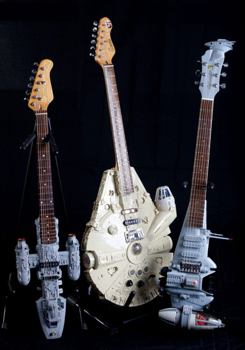 laughingsquid:  Custom Electric Guitars Shaped Like Spaceships From 'Star Wars'