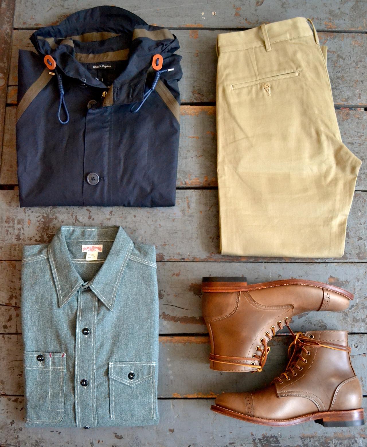 beatboxgoesthump: Nigel Cabourn - Ventile Aircraft Jacket The Real McCoys - Double Diamond Trousers The Real McCoys - Double Diamond Chambray Work Shirt Oak Street Bootmakers - Leather Sole Cap Toe Trench Boot