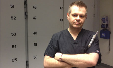 "How do I become… an embalmer? Some modest GCSEs – and the right attitude – can get you on a two-year course, then the job might take you anywhere As an eight-year-old, Kevin Sinclair would fetch the Hoover from the chapel beneath the family flat, see dead bodies in coffins and carry on. ""They were just sleeping,"" he says casually. ""That's what my parents would tell me."" What the average person would have considered macabre, he saw as normal and merely a matter of getting used to. And after getting used to it, he followed his father into the funeral business and became an embalmer, a job he has been doing for 22 years. He co-founded the Feltham-based London School of Embalmingin 2006, where he embalms and teaches. A typical day starts with a delivery, but not your standard postal influx. Around eight to 10 bodies released from hospitals, nursing homes or private residences arrive ready for the embalming to begin. During the week, he teaches as he embalms. Under supervision, students have the opportunity to learn the craft with the deceased.  (Source: The Guardian)"