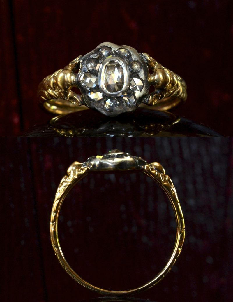 1820s Georgian English Rose Cut Diamond Cluster Ring, Silver, 18K, $1850