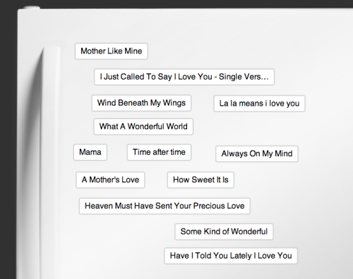 We got creative ahead of Mother's Day and put together this little Playlist Poem.  Feeling inspired? Send your mom a personalized Playlist Poem here!