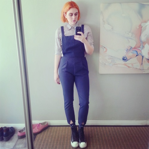 ceedling:  another outfit from today. overalls from here, shirt is Gap