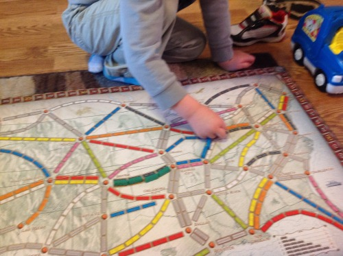 Plained a simplified version of Ticket To Ride with my 4 year old.  He loved it!  Getting some future Eurogame passion in him.