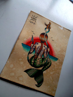 pendenziero:  A5. Watercolor and ink. Trading with Dave at Corazon Tattoo (Bromborough, UK)