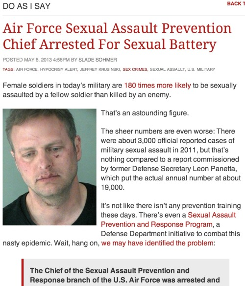 Air Force Sexual Assault Prevention Chief arrested for … ah, fark it, just click the damn link and shake your head.