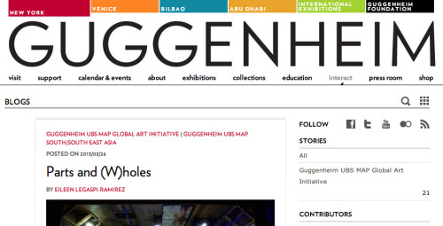 I started working for the Guggenheim Museum in May of last year. The first project I launched, Guggenheim Blogs, has been nominated for a webby! We're in good company, so I'm pretty excited. If you have a minute and want to vote for us, well go right ahead!  (via Guggenheim Blogs — Websites: General Website / Art)