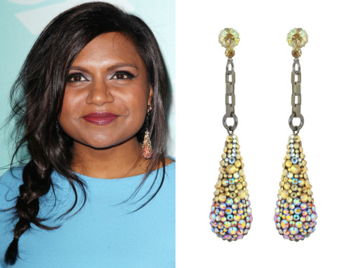 "themindyprojectstyle:  Mindy Kaling accessorized her blue belted dress, worn to the Fox upfronts, with holographic pumps and jewelry from the Tarina Tarantino ""Spectrum"" collection, including this ring and these drop earrings. Tarina Tarantino Spectrum Ultraviolet Pavé Drop Earrings - $170 You can buy a smaller version of Mindy's ring on sale here  These earrings are so fetch"