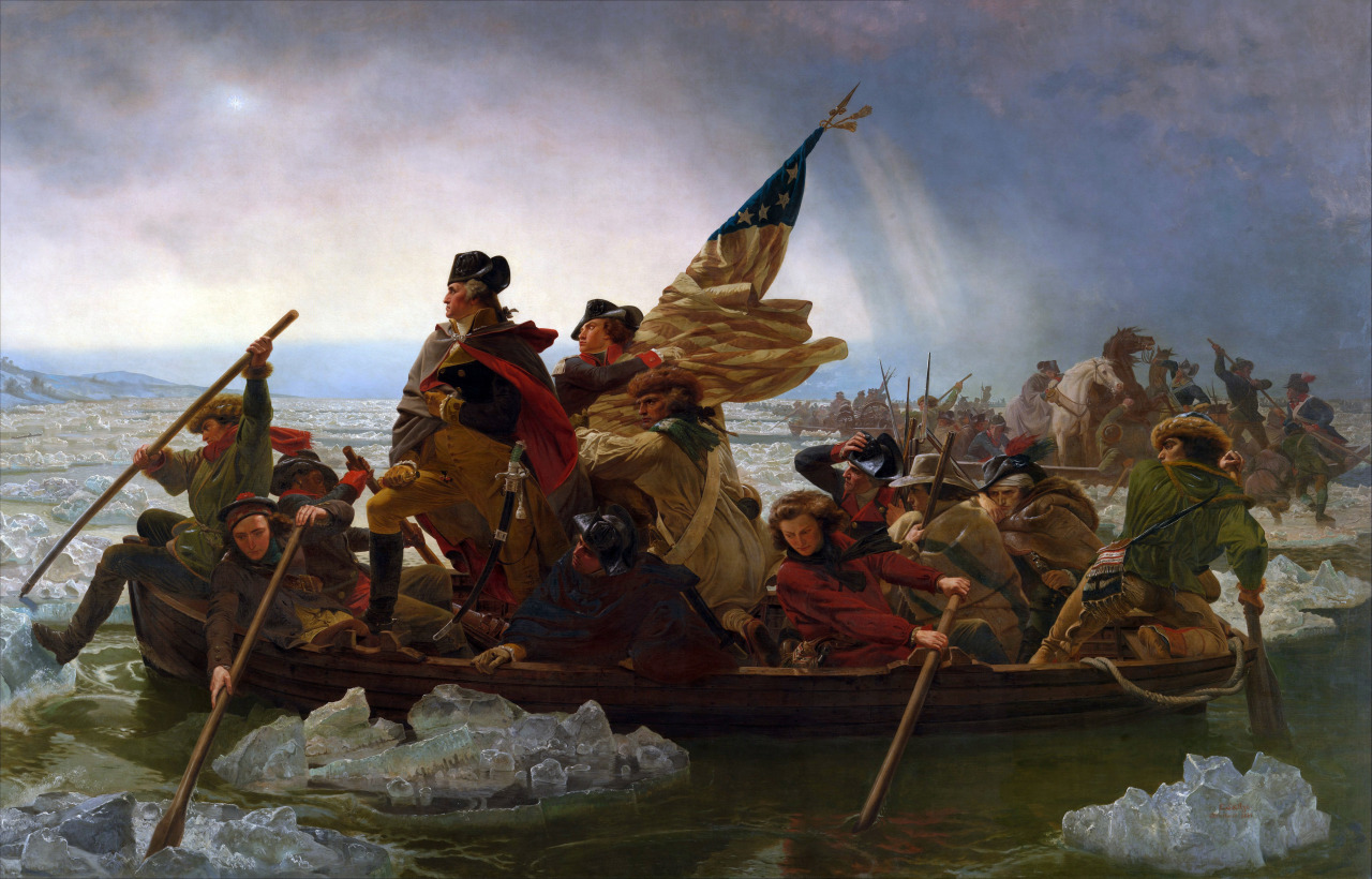 Emanuel Leutze: Washington Crossing the Delaware (1851)  Leutze's depiction of Washington's attack on the Hessians at Trenton on December 25, 1776, was a great success in America and in Germany. Leutze began his first version of this subject in 1849. It was damaged in his studio by fire in 1850 and, although restored and acquired by the Bremen Kunsthalle, was again destroyed in a bombing raid in 1942. In 1850, Leutze began this version of the subject, which was placed on exhibition in New York during October of 1851. At this showing Marshall O. Roberts bought the canvas for the then-enormous sum of $10,000. In 1853, M. Knoedler published an engraving of it. Many studies for the painting exist, as do copies by other artists.