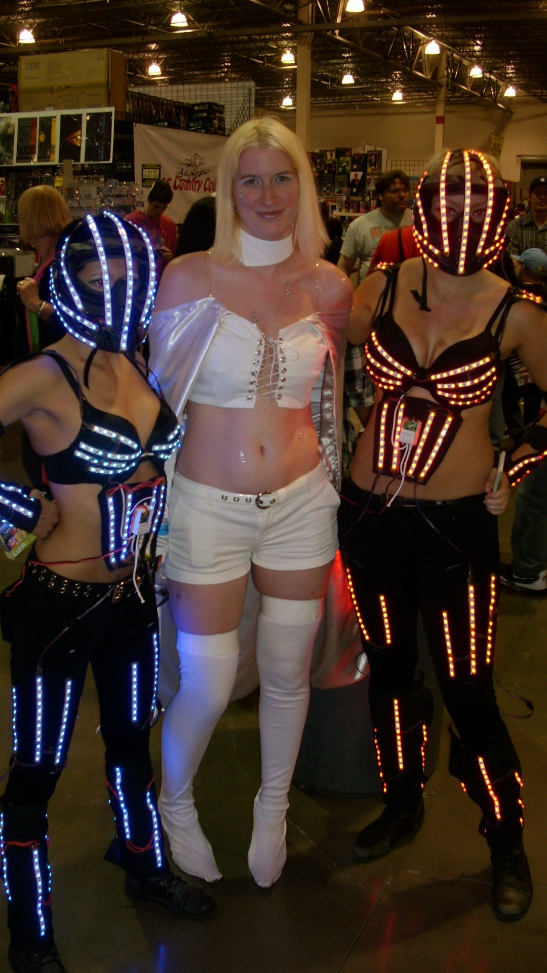 Phoenix, Tron Girls, and Luigi! And Me in my Emma Frost (White Queen) costume. I made a good majority of the costume. The only things I didn't make were the gloves and shorts. So much fun today!
