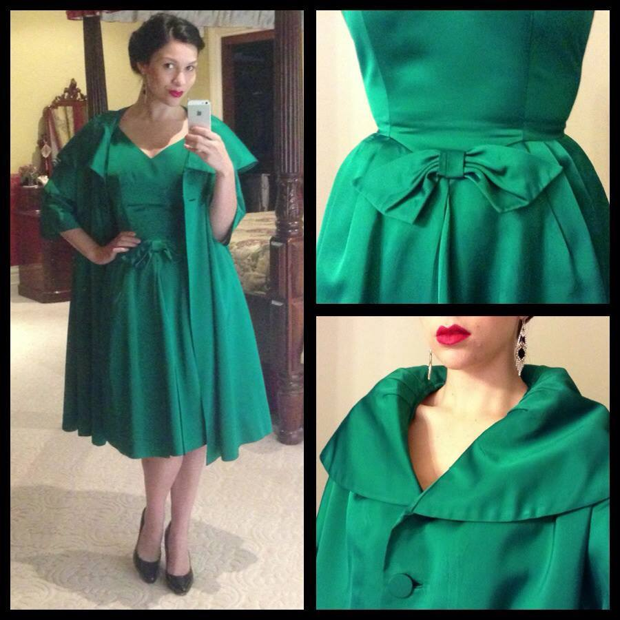 My newest addition to my wardrobe! An authentic 1950s Sandra Sage satin silk emerald green dress and coat :)