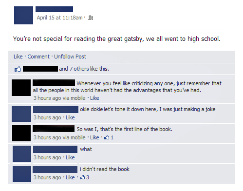 They read Toole and Swift instead. ;) (I didn't read Gatsby in High School either, by the way. Very few people my age did, either out of willful idiocy, as above, or, as in my case, because it was not in the curriculum when I attended. It was ok, though. I had read it on my own some years before that.)